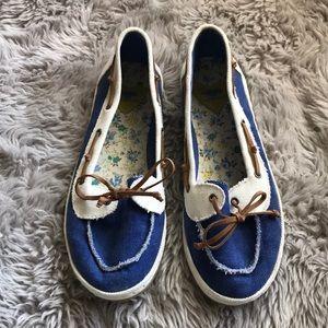 (10) Rocket Dog Blue Cream Flats Brown Tie
